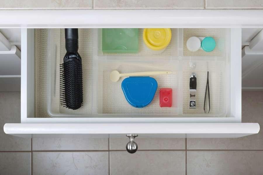 minimalist organized bathroom drawer