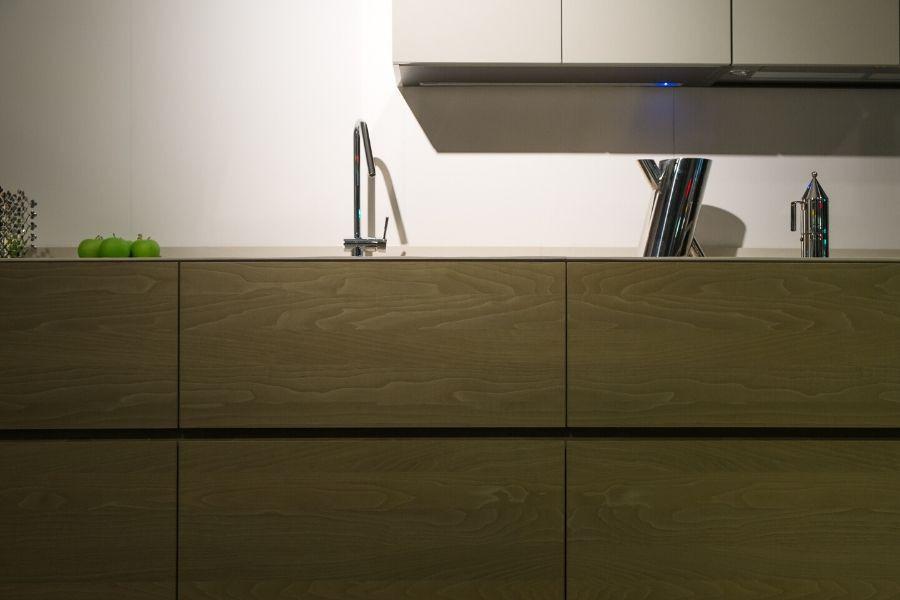 minimalist kitchen natural wood drawers