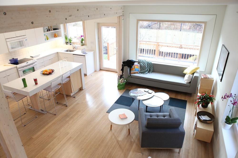 minimalist living room and kitchen ikea furniture