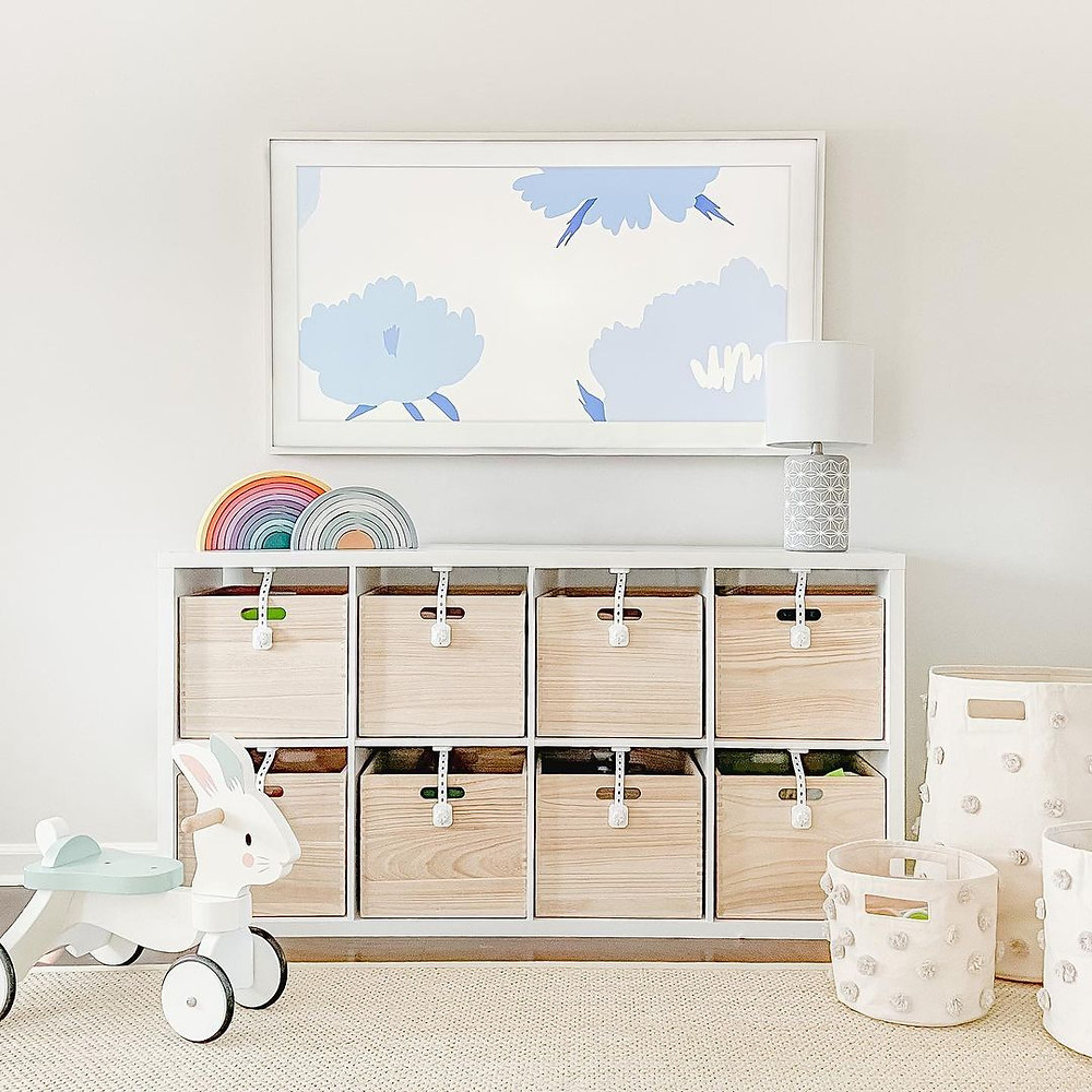 minimalist playroom wooden box units