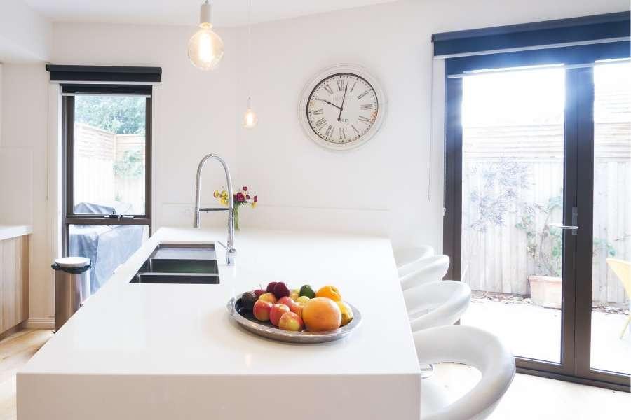 minimalist kitchen big white island