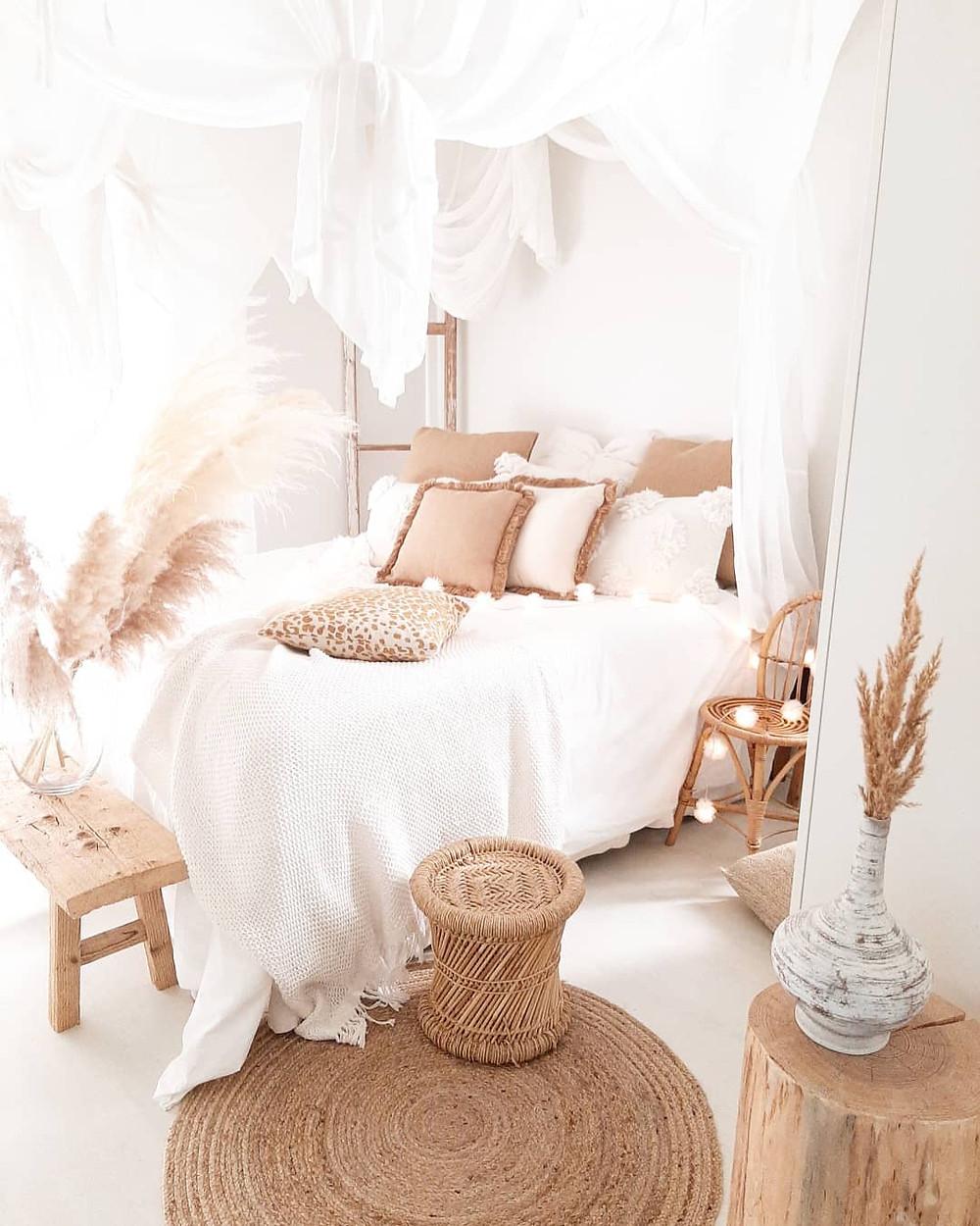 boho minimalist bedroom with wicker furniture