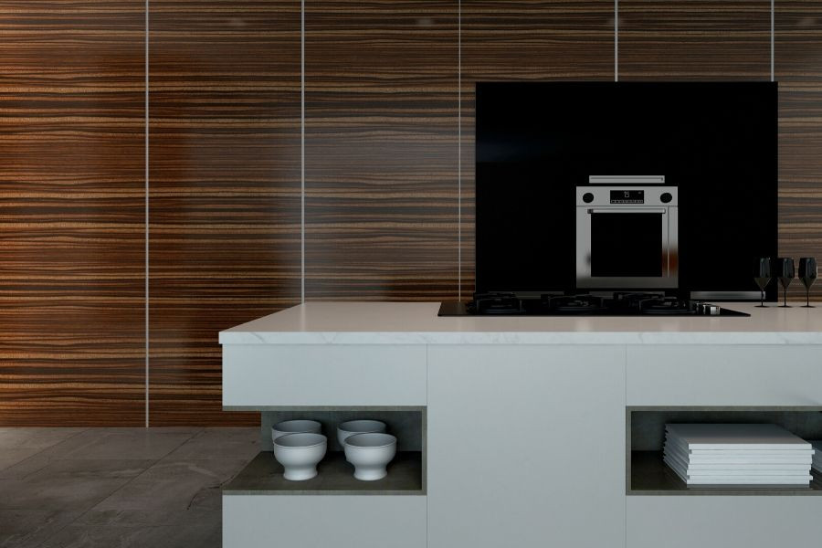 minimalist kitchen wood and white