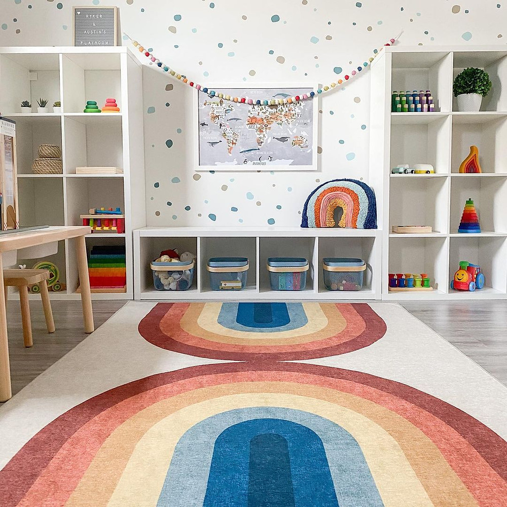 minimalist rainbow playroom idea