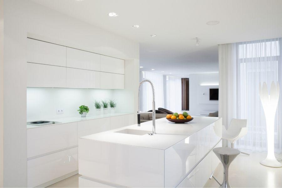 minimalist kitchen shiny white futuristic