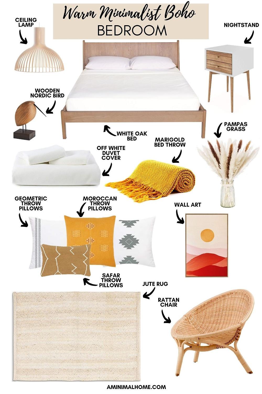 warm minimalist boho bedroom