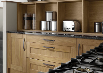 oak-kitchen-curved-drawers-open-shelves-