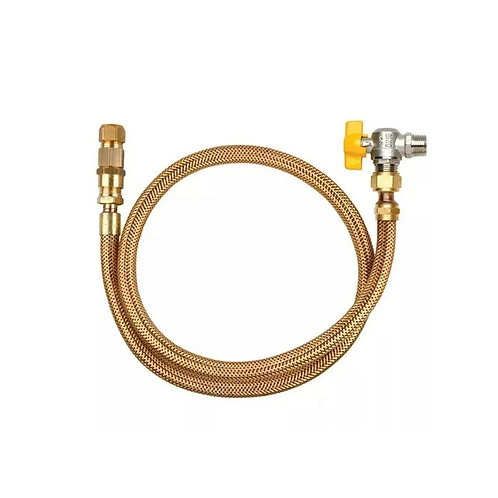 Kit premium mangueira de cobre 1/2 x 1m + registro gás encanado