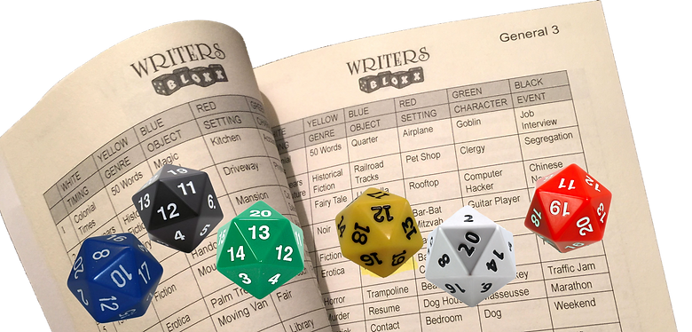 WritersBloxx writers prompt storytelling party game Journal and dice