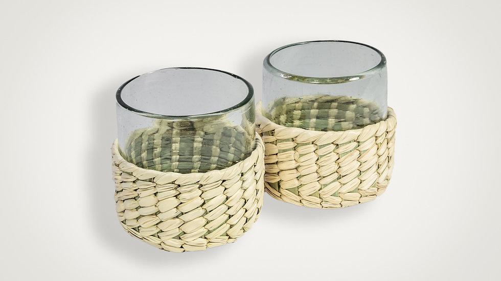 Set de vasos con cubierta de palma
