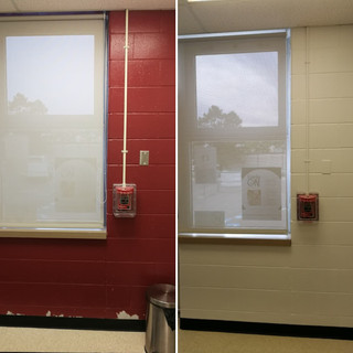 Freshly painted walls before and after
