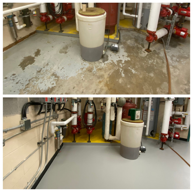 Mechanical room before and after