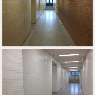 Hallways repainted before and after