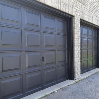 Freshly painted garage doors
