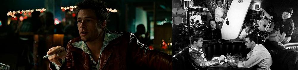 À esquerda Brad Pitt aponta para o outro personagem fora da cena com um cigarro. Ele está sentado em um bar com luzes desfocadas no fundo trajando um jaqueta de couro vermelha. À direita uma foto em preto e branco de Brad Pitty e Edward Norton sentados no sofá de couro do bar frente a frente com a equipe de fotografia do filme ao fundo.
