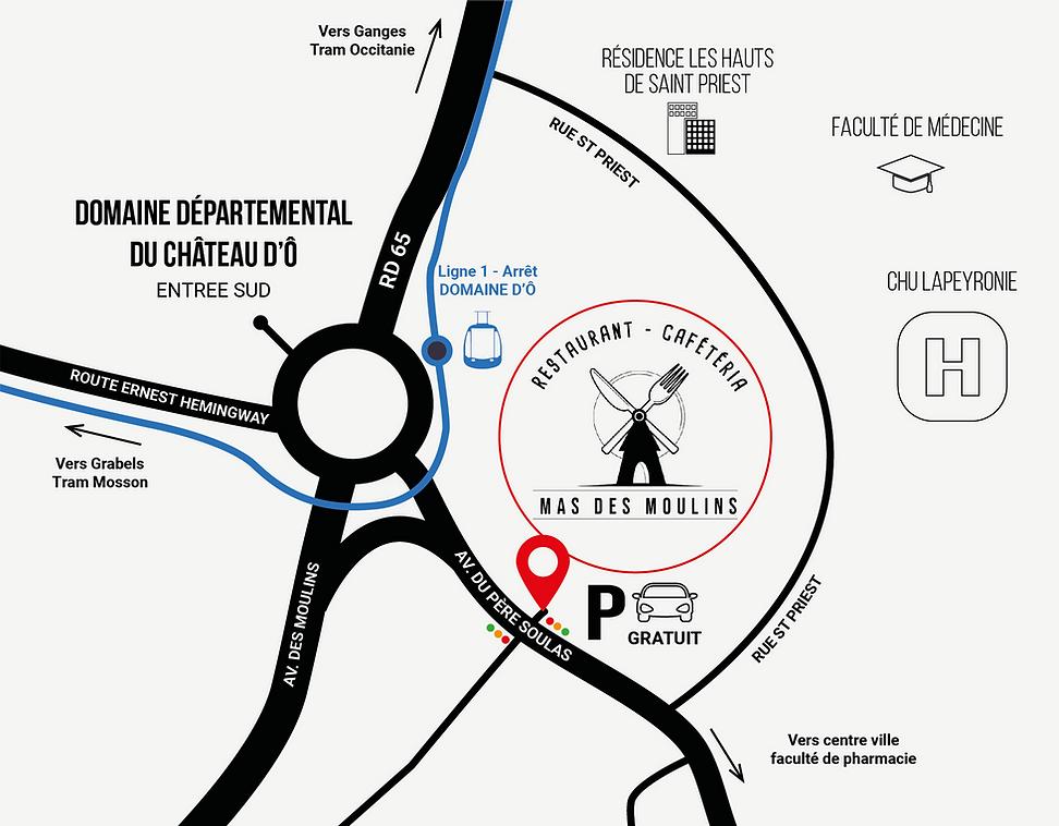 plan localisation Le Mas des Moulins