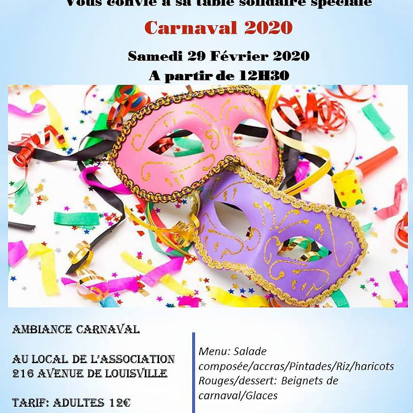 Table solidaire spécial Carnaval