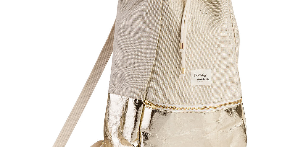 "Rucksack ""love & soul"" washable paper gold"