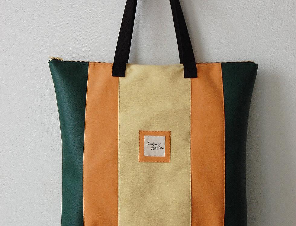 """Tasche upcycled """"Trias"""" in Grün, Orange und Gelb"""