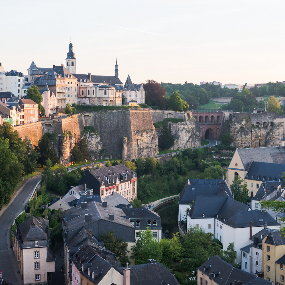 The fortified city walls in Luxembourg City
