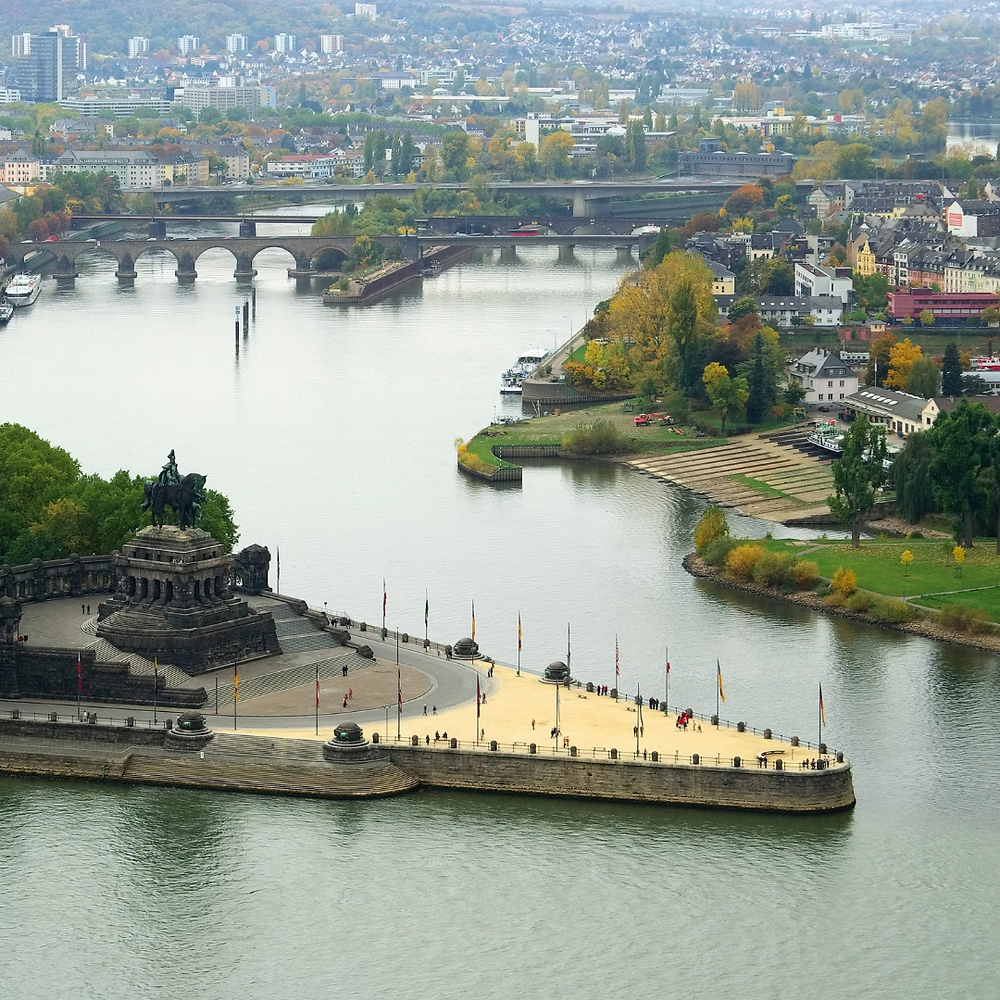 Deutsches Eck at the confluence of the Rhine and Moselle river