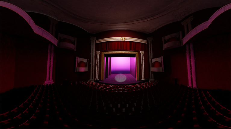equirectangular image of an auditorium and stage