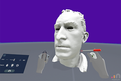 Man's head modelled using Medium VR