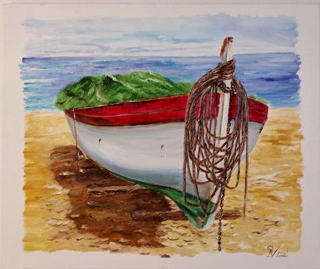Barca con lona verde