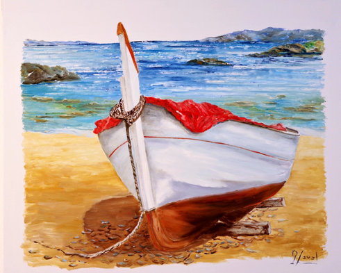 Barca lona roja
