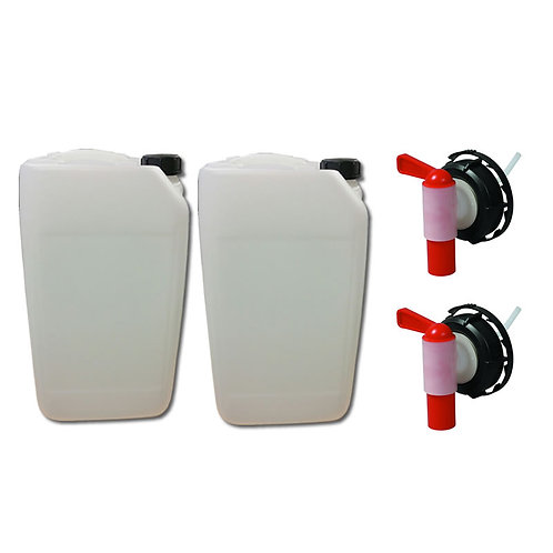 2 X 25 Litre Jerry Can Water Container With Drum Taps