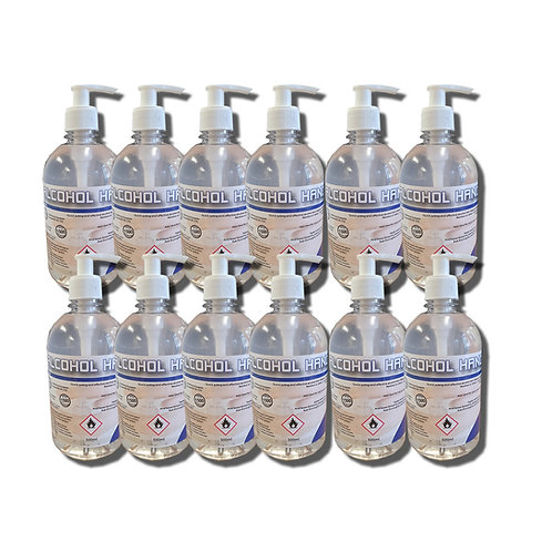 12 x 500 ml  Alcohol Hand Gel 70% With Pumps -  APPROVED FORBS EN 1276 & 1500
