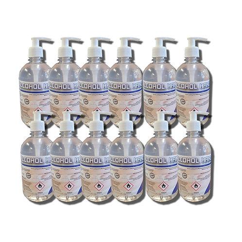 12 x 500 ml  Alcohol Hand Gel 70% With Pumps -  BS EN 14476, 1276 & 1500