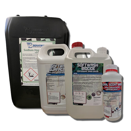 Softwash Chemicals Pack - Hypo, Surfactant, Biocide and Scent Masker