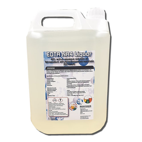 EDTA NA4 Liquor 40% surfactant solution of tetrasodium EDTA chelating agent.