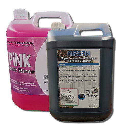 Twin Pack 5 Litre Chemical Toilet Fluid Caravan Motorhome Boat 1 BLUE 1 PINK