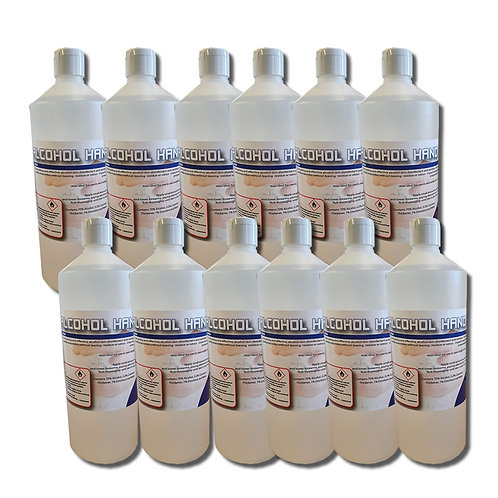 12 x 1 Litres Alcohol Hand Gel 70% -  APPROVED FOR BS EN 1276 & 1500