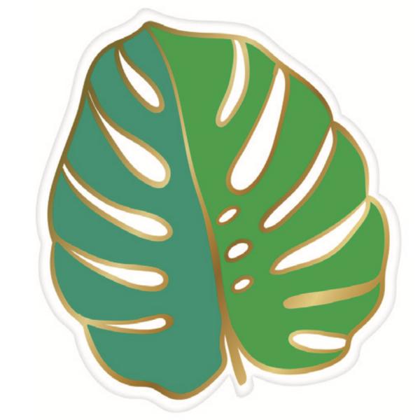 A paper plate shaped like a leaf.