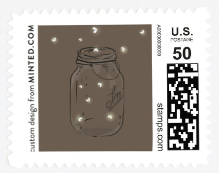 A stamp with a mason jar full of fireflies on it.