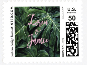A stamp with names and leaves on it.
