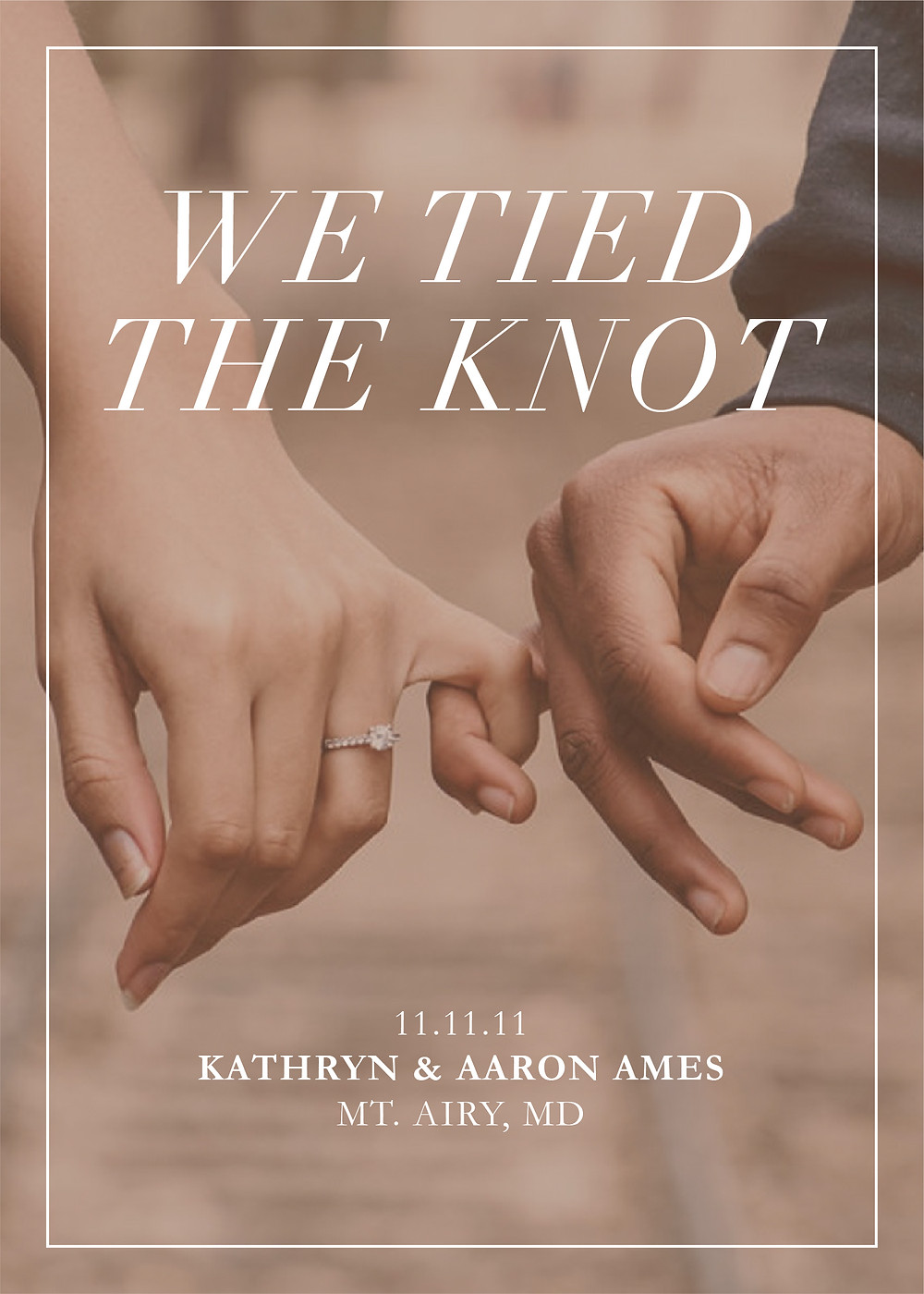 "An elopemnt announcement that says ""We tied the knot"" and shows two people holding each other's pinky fingers."