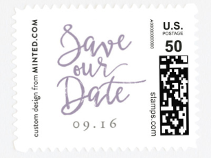 """A stamp that says """"Save Our Date"""" in fancy script."""