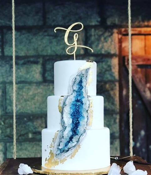 A three tier geode cake.