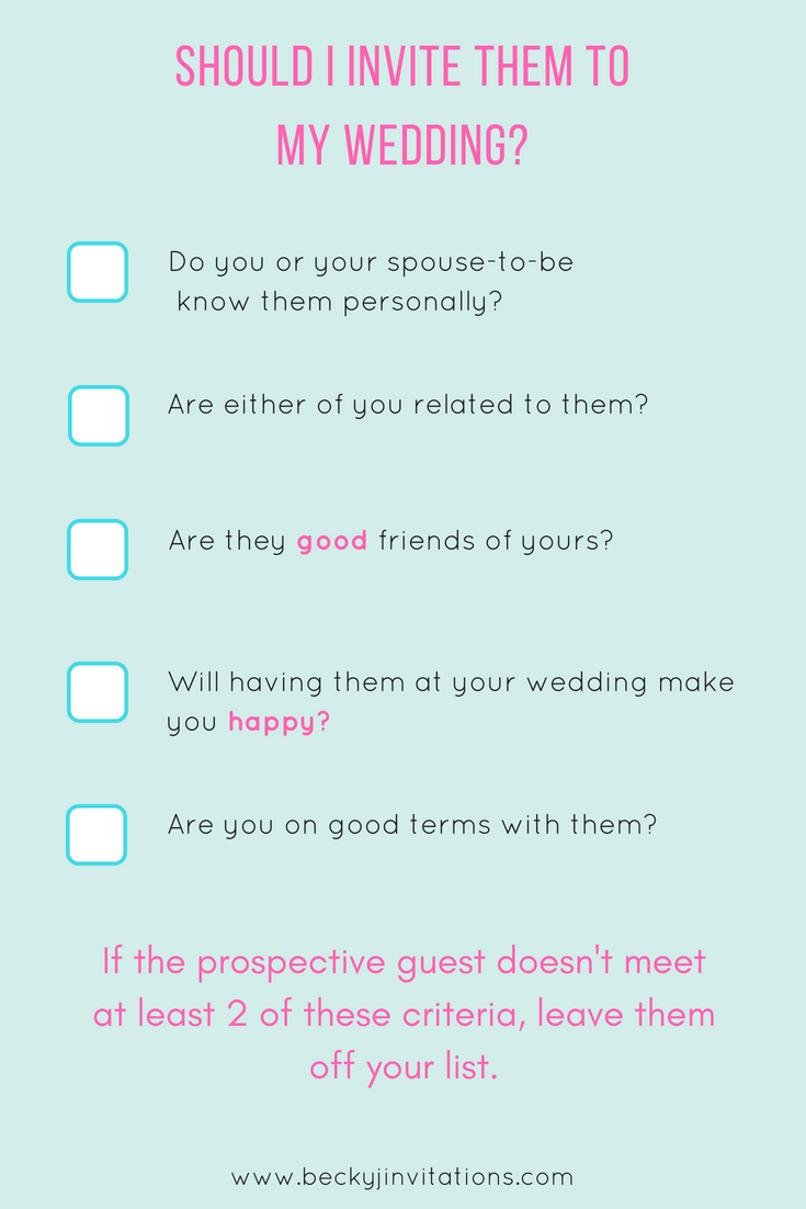 An infographic checklist to help you decide who to invite to your weddings.