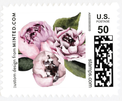 A stamp with flowers on it.