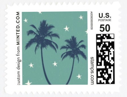 A stamp with palm trees and stars on it.