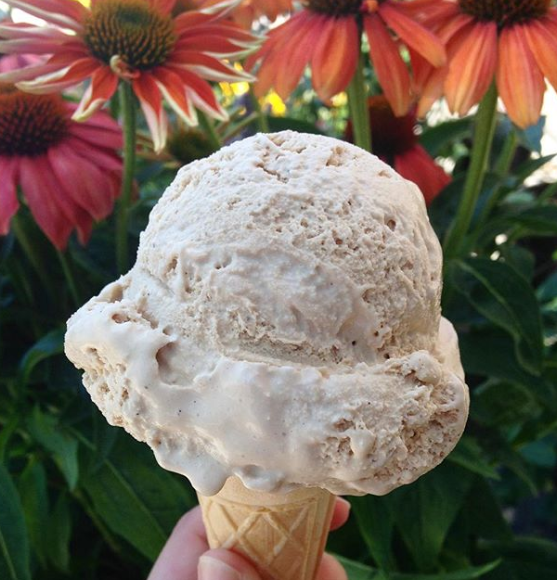 A giant scoop of salted caramel ice cream on a cone held before a bunch of daisies.