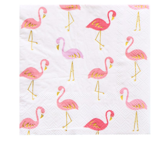 A paper napkin with flamingos on it.