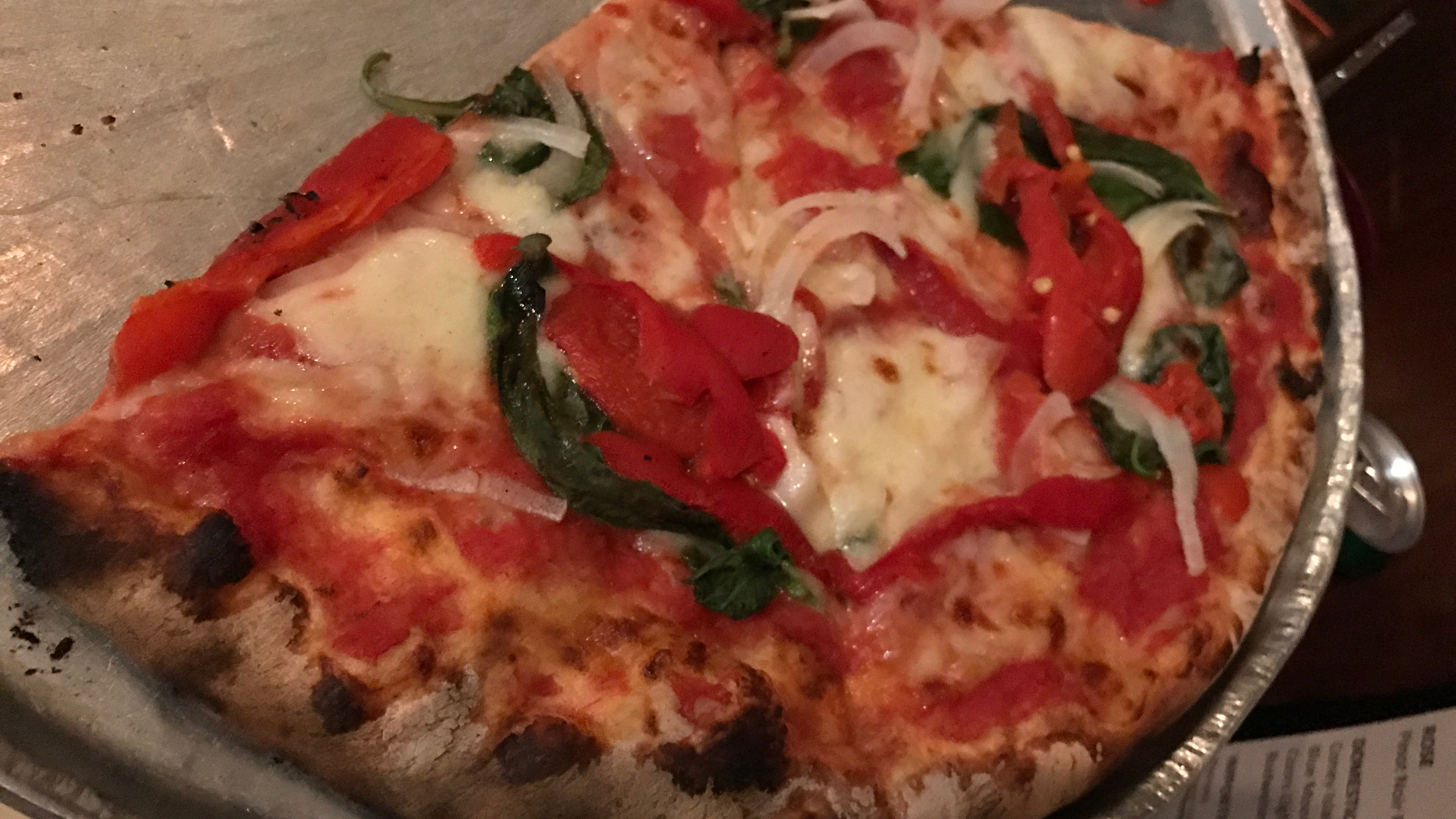 grated mozzarella, tomato sauce, roasted peppers, basil, portobello substituted with onions