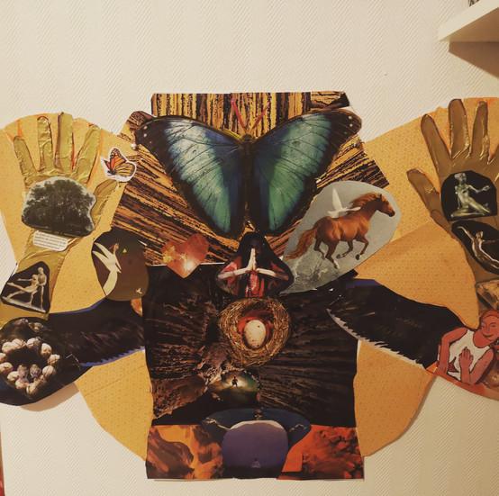 Collage effectué lors d'un atelier de découverte du Soul Art.