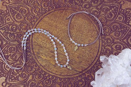 Rosenquarz Aqamarin Regenbogenmondstein Perlenkette und Armband